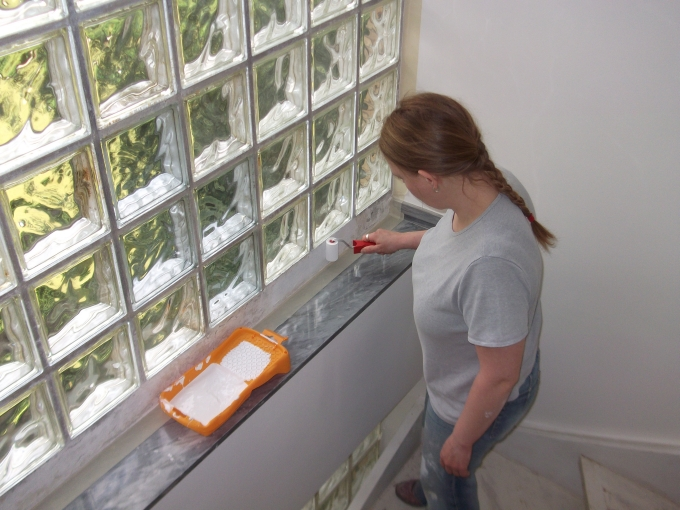 Glas + Holz = Sonntagsarbeit - Umbau - Farbe Glasbausteine
